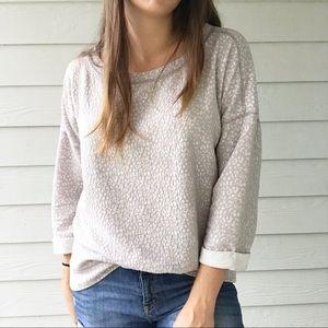 Anthropologie Lilka Gray Leopard Sweater Jacquard